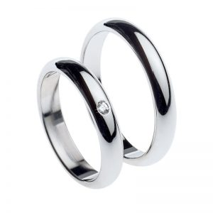 AURUM classic wedding rings WHITE GOLD 1 diamond