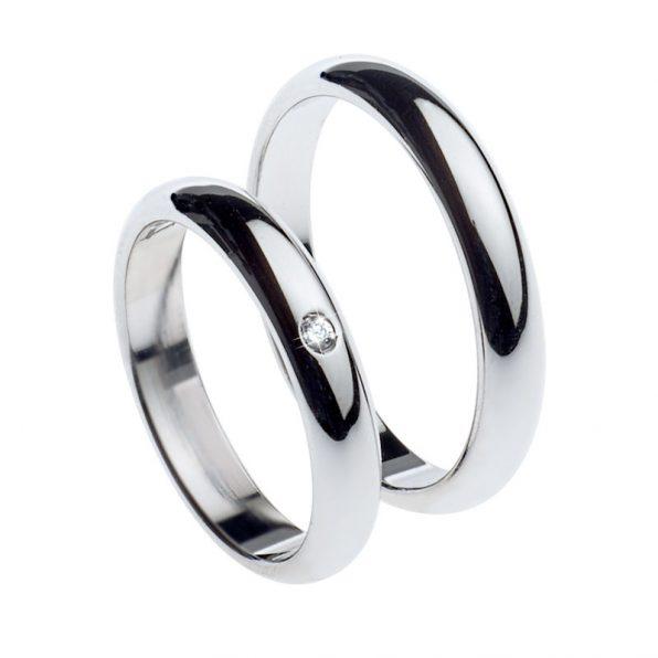 AURUM classic wedding rings WHITE GOLD 1 diamond