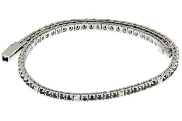 TDP18-1B5N-0101 AURUM Srl Bracciale Tennis piramidale 1 diamante naturale e 5 diamanti neri